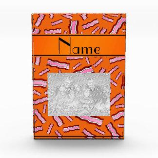 Personalized name orange bacon pattern awards