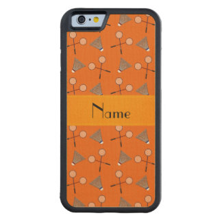 Personalized name orange badminton carved® maple iPhone 6 bumper