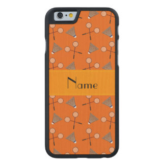 Personalized name orange badminton carved® maple iPhone 6 slim case