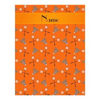 Personalized name orange badminton pattern letterhead