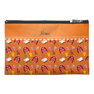 Personalized name orange barn animals travel accessory bag