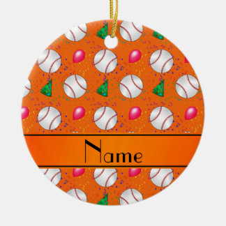 Personalized name orange baseball birthday ceramic ornament