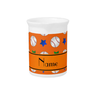 Personalized name orange baseball blue green stars drink pitchers