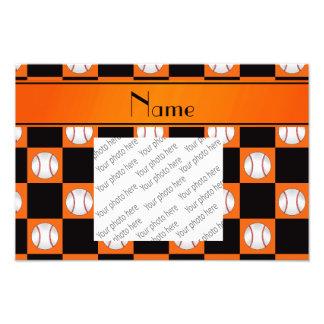 Personalized name orange baseball checkers photo print