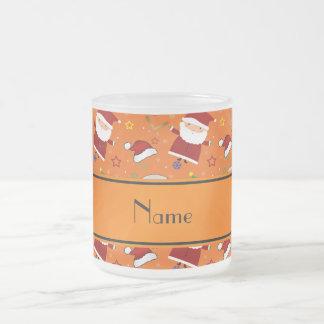 Personalized name orange baseball christmas 10 oz frosted glass coffee mug