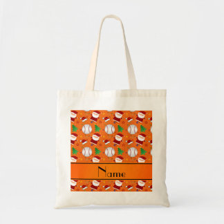 Personalized name orange baseball christmas tote bags