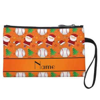 Personalized name orange baseball christmas wristlet clutch