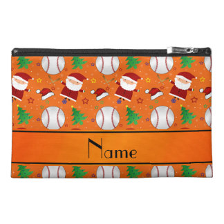 Personalized name orange baseball christmas travel accessories bags