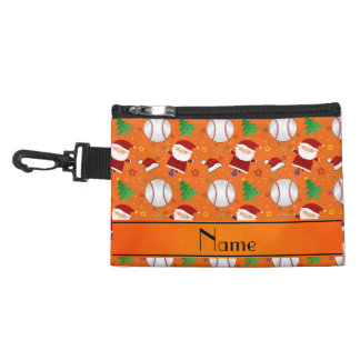 Personalized name orange baseball christmas accessories bags