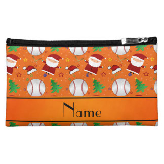 Personalized name orange baseball christmas cosmetic bags