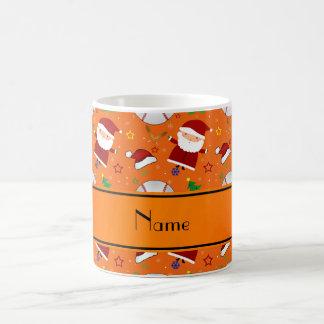 Personalized name orange baseball christmas classic white coffee mug