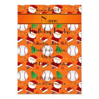 Personalized name orange baseball christmas 5x7 paper invitation card
