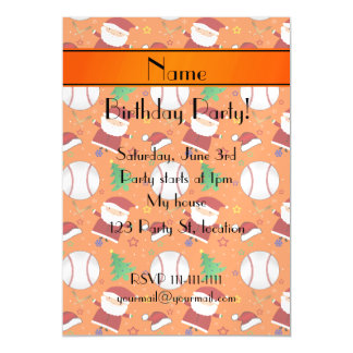 Personalized name orange baseball christmas magnetic invitations