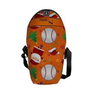 Personalized name orange baseball christmas courier bags