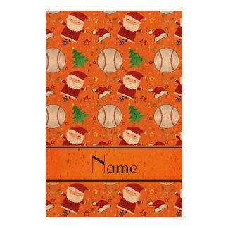Personalized name orange baseball christmas photo cork paper