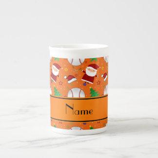 Personalized name orange baseball christmas tea cup