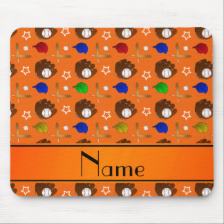 Personalized name orange baseball glove hats balls mouse pad