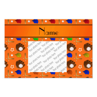 Personalized name orange baseball glove hats balls photo print