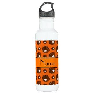 Personalized name orange baseball gloves balls water bottle