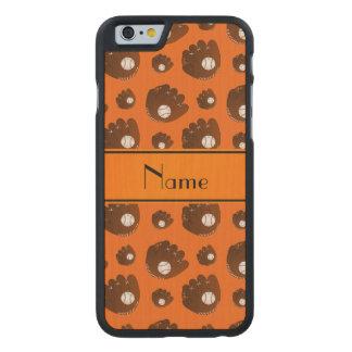 Personalized name orange baseball gloves balls carved® maple iPhone 6 slim case