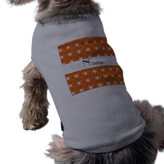 Personalized name orange baseball pattern dog t-shirt