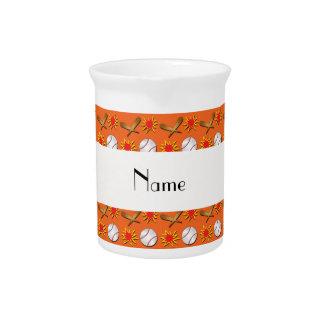 Personalized name orange baseball pattern drink pitcher