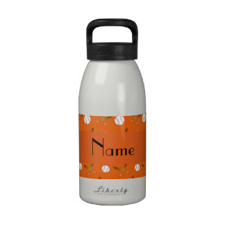 Personalized name orange baseball water bottle