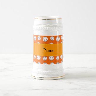 Personalized name orange baseballs pattern mug