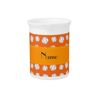Personalized name orange baseballs pattern pitchers