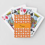 Personalized name orange baseballs pattern playing cards