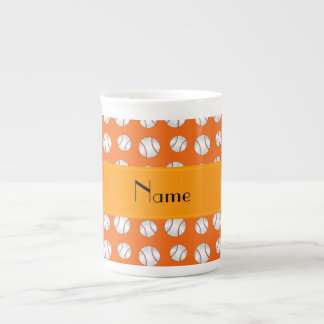 Personalized name orange baseballs pattern porcelain mug