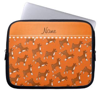 Personalized name orange basenji dogs laptop sleeve