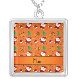 Personalized name orange basketball christmas jewelry