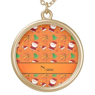 Personalized name orange basketball christmas personalized necklace