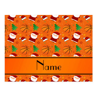 Personalized name orange basketball christmas post cards
