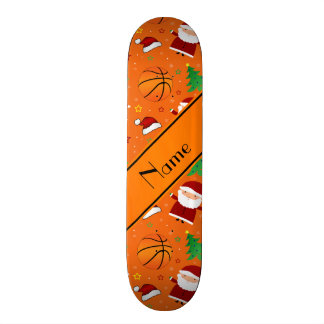 Personalized name orange basketball christmas skate board deck