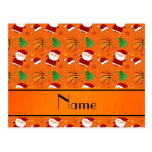 Personalized name orange basketball christmas post cards