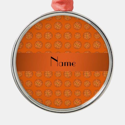 Personalized name orange basketballs christmas tree ornament