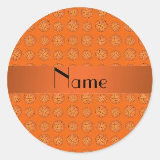 Personalized name orange basketballs round sticker