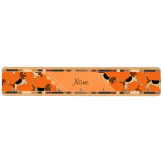 Personalized name orange basset hound dogs maple key rack
