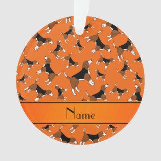 Personalized name orange beagle dog pattern