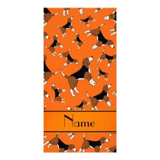 Personalized name orange beagle dog pattern photo card