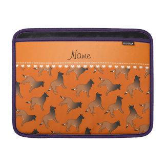 Personalized name orange belgian tervuren dogs MacBook air sleeve
