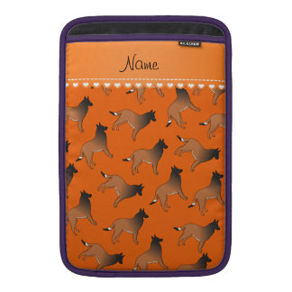 Personalized name orange belgian tervuren dogs MacBook sleeve
