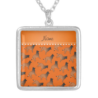 Personalized name orange belgian tervuren dogs square pendant necklace