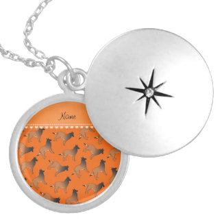 Personalized name orange belgian tervuren dogs round locket necklace