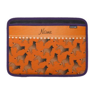 Personalized name orange belgian tervuren dogs sleeve for MacBook air