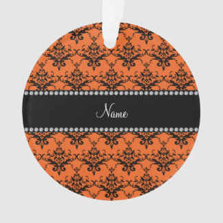Personalized name orange black damask
