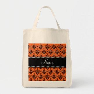 Personalized name Orange black damask Bag