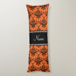 Personalized name orange black damask body pillow
